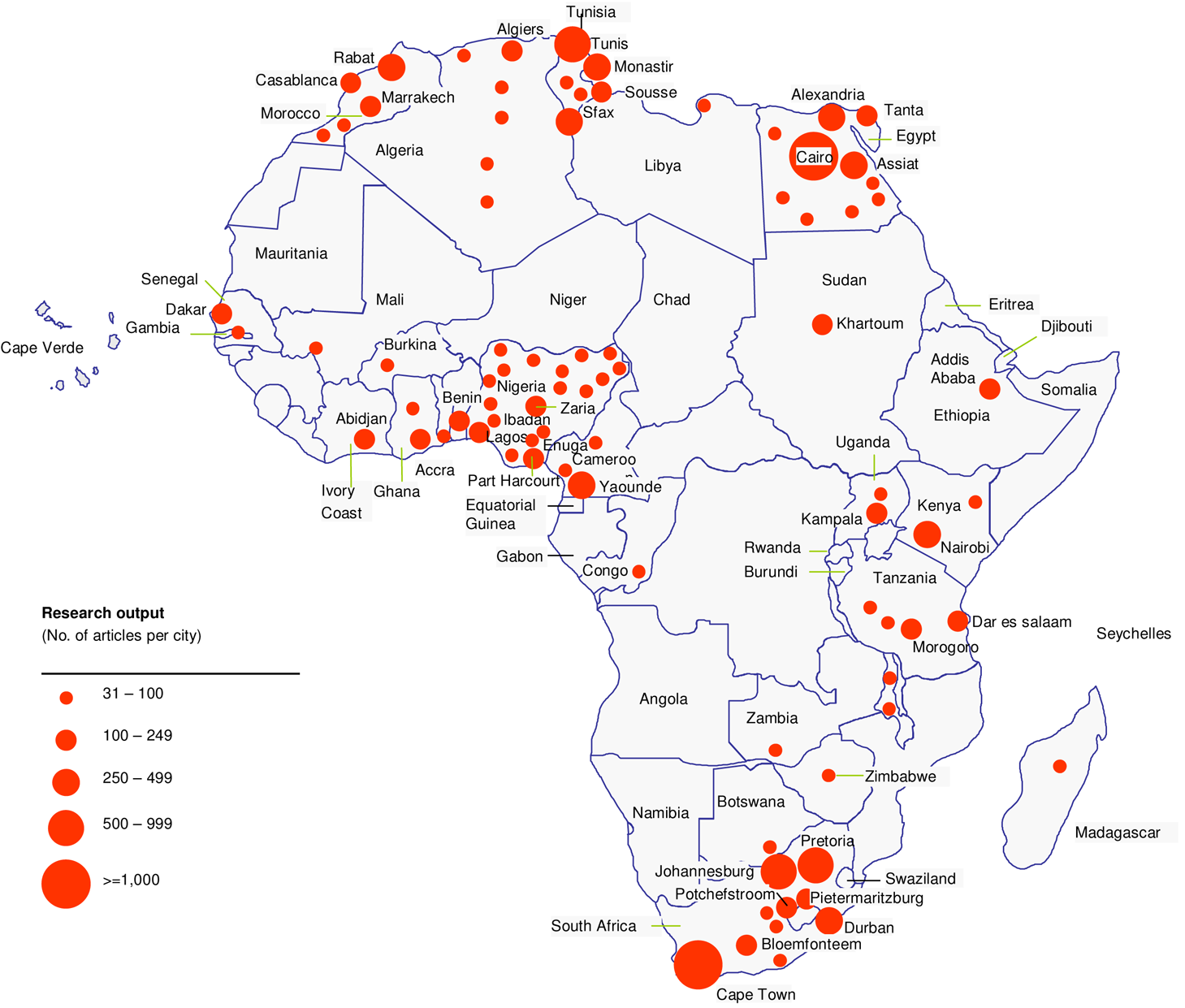 Distribution of R&D capacity in Africa.