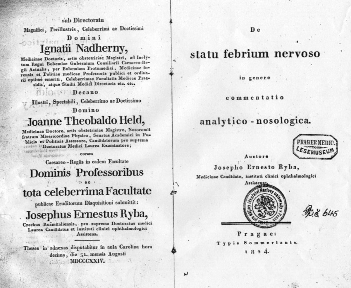 Titulní list Rybovy dizertace