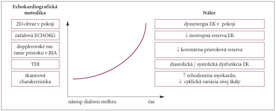 Schéma 2. Hypotetická kaskáda echokardiografických nálezov pri diabetickej kardiomyopatii. Upravené podľa Picana [13].