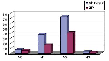 Předléčebné metastatické postižení krčních uzlin N v obou souborech.