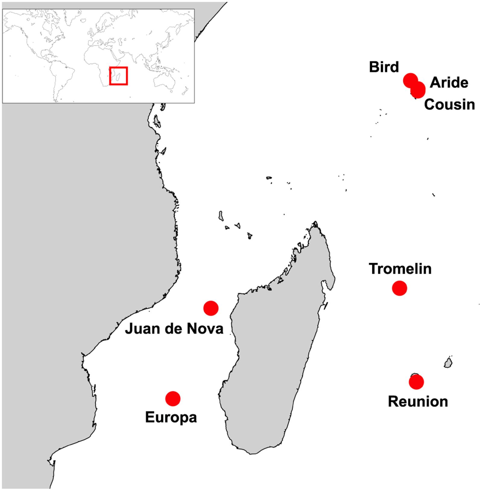 Sampling locations (red circles).