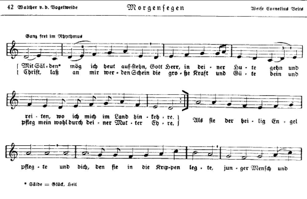 Corneliem Veitsem zhudebněný text minesengra Walthera von der Vogelweide (repro H. Schendel).