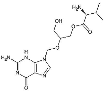 Strukturní vzorec valgancikloviru.