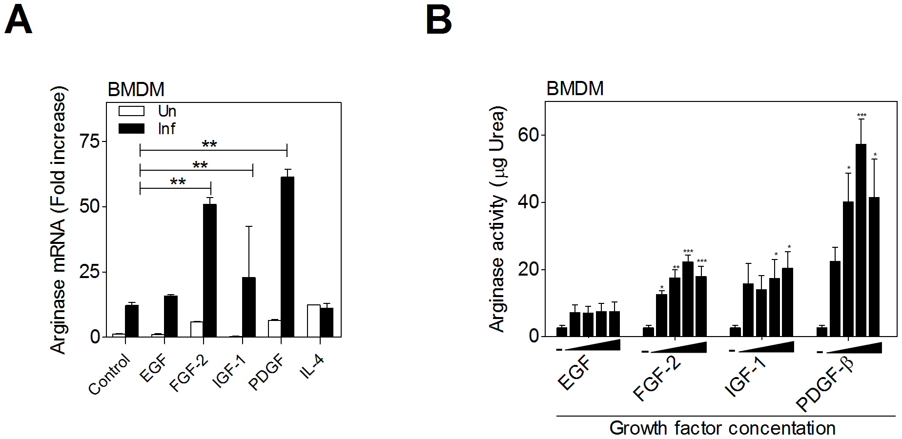Growth factors upregulate arginase 1 in macrophages.
