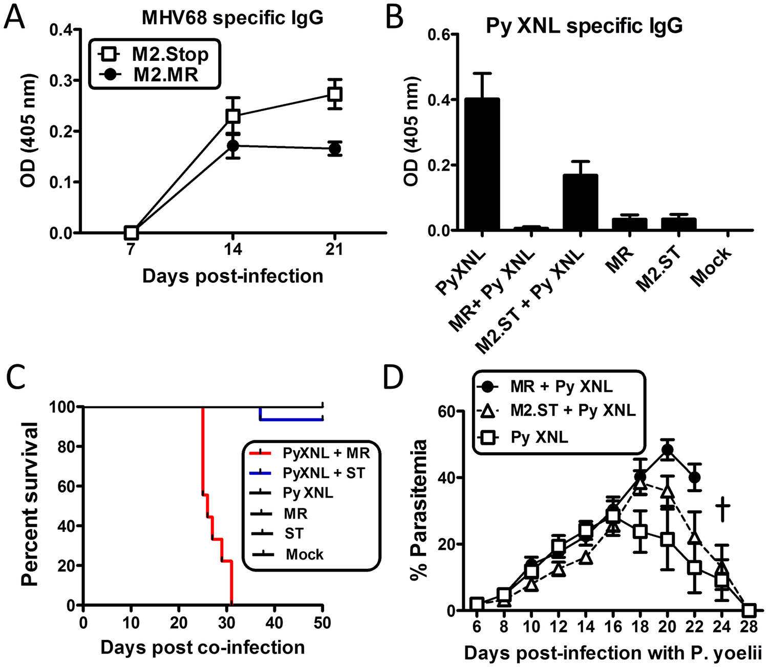 The MHV68 M2 gene product is necessary for virus mediated humoral suppression and lethality during <i>Plasmodium</i> co-infection.