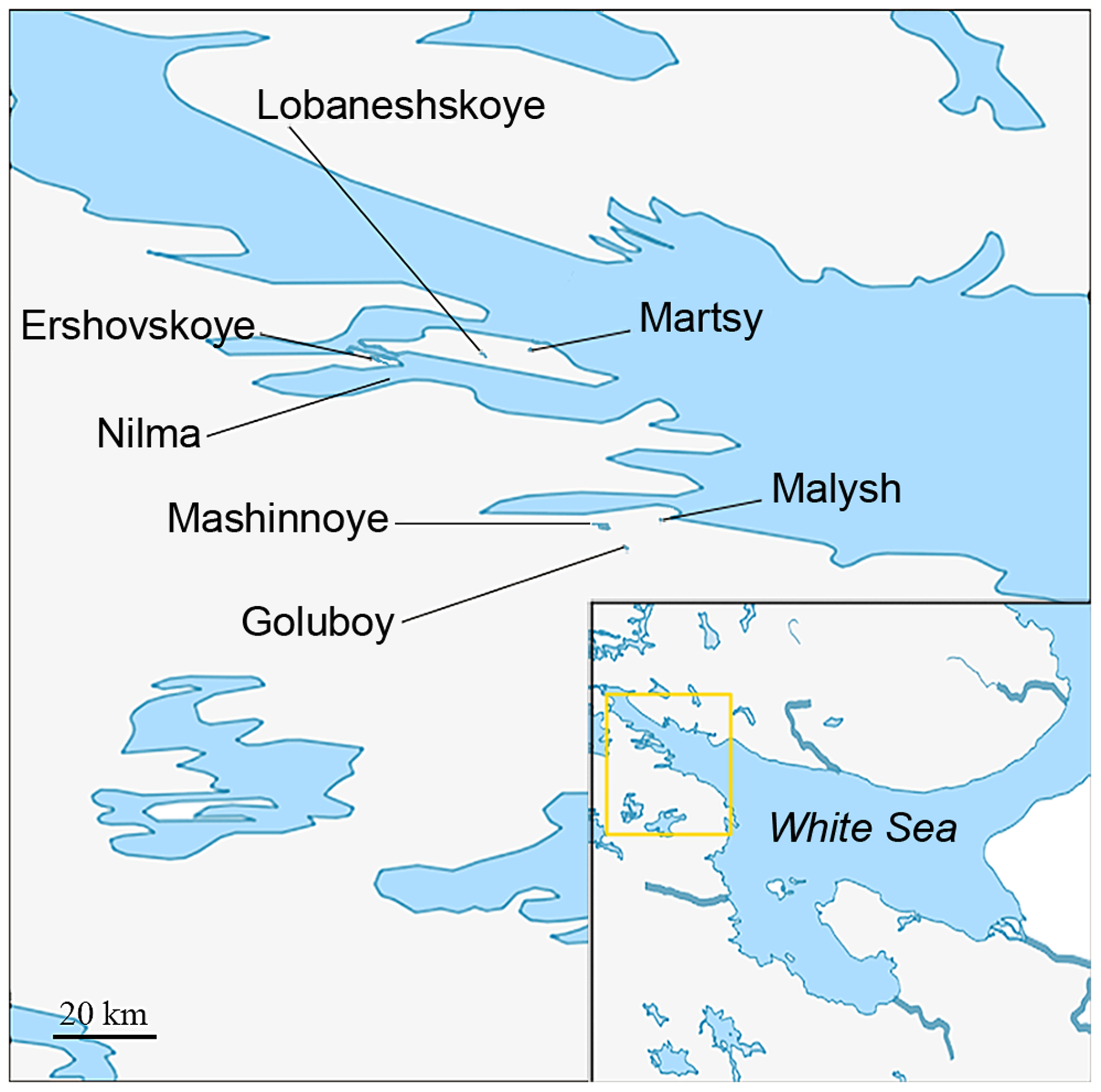Map showing the locations of populations studied.