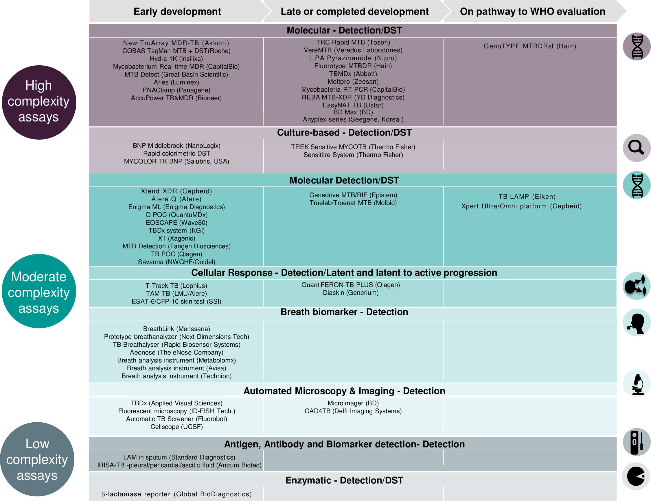 The development pipeline of new TB diagnostics.