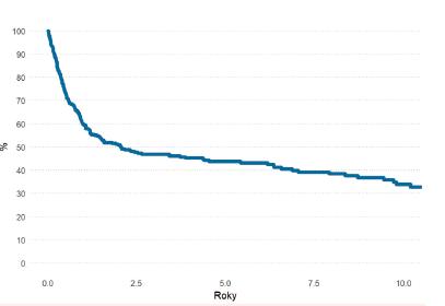 Pravděpodobnost celkového přežití (<i>OS-overall survival</i>) všech pacientů s AML (N-419)