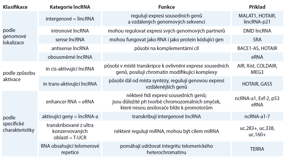 Příklady klasifikace lncRNA [6,13,16,18].