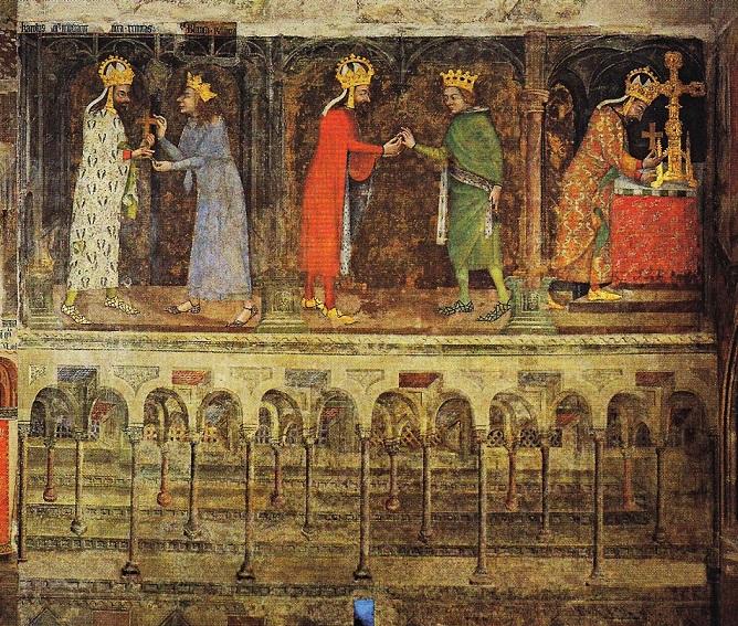 Obr. 1a Ostatkové scény v kapli Panny Marie na Karlštejně. Karel přijímá relikvie od francouzského dauphina Karla V. (vlevo) a uherského krále Ludvíka Velkého (uprostřed). Císař ukládá do relikviáře část dřeva kříže, na němž byl ukřižován Kristus (vpravo).