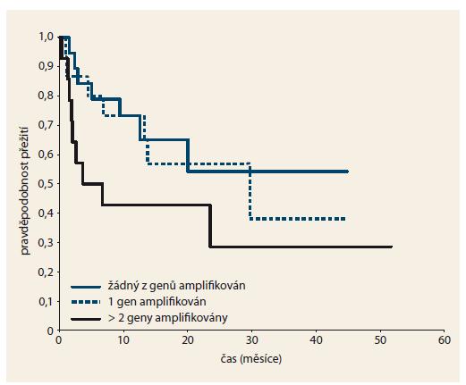 Přežití pacientů podle počtu amplifikovaných genů ze skupiny <em>PDGFRB, ERBB2, RET, EGFR, CCND1</em> a <em>CDKN1B (p27/Kip1)</em>. Graph 4. Patient survival according to the number of detected gene amplifications in a group containing <em>PDGFRB, ERBB2, RET, EGFR, CCND1</em> and <em>CDKN1B (p27/Kip1)</em>.
