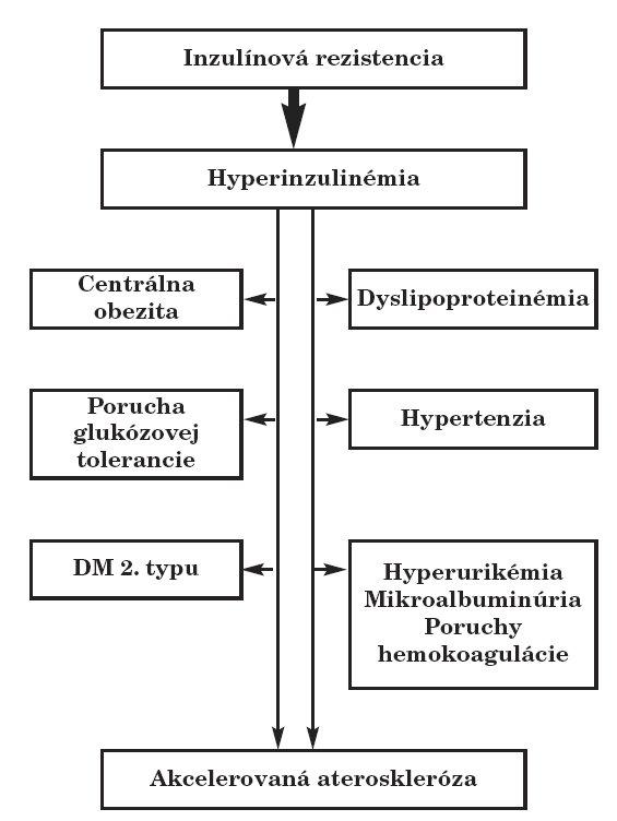 Patogenéza inzulínorezistencie a jej metabolických a klinických dôsledkov (voľne podľa [4]).