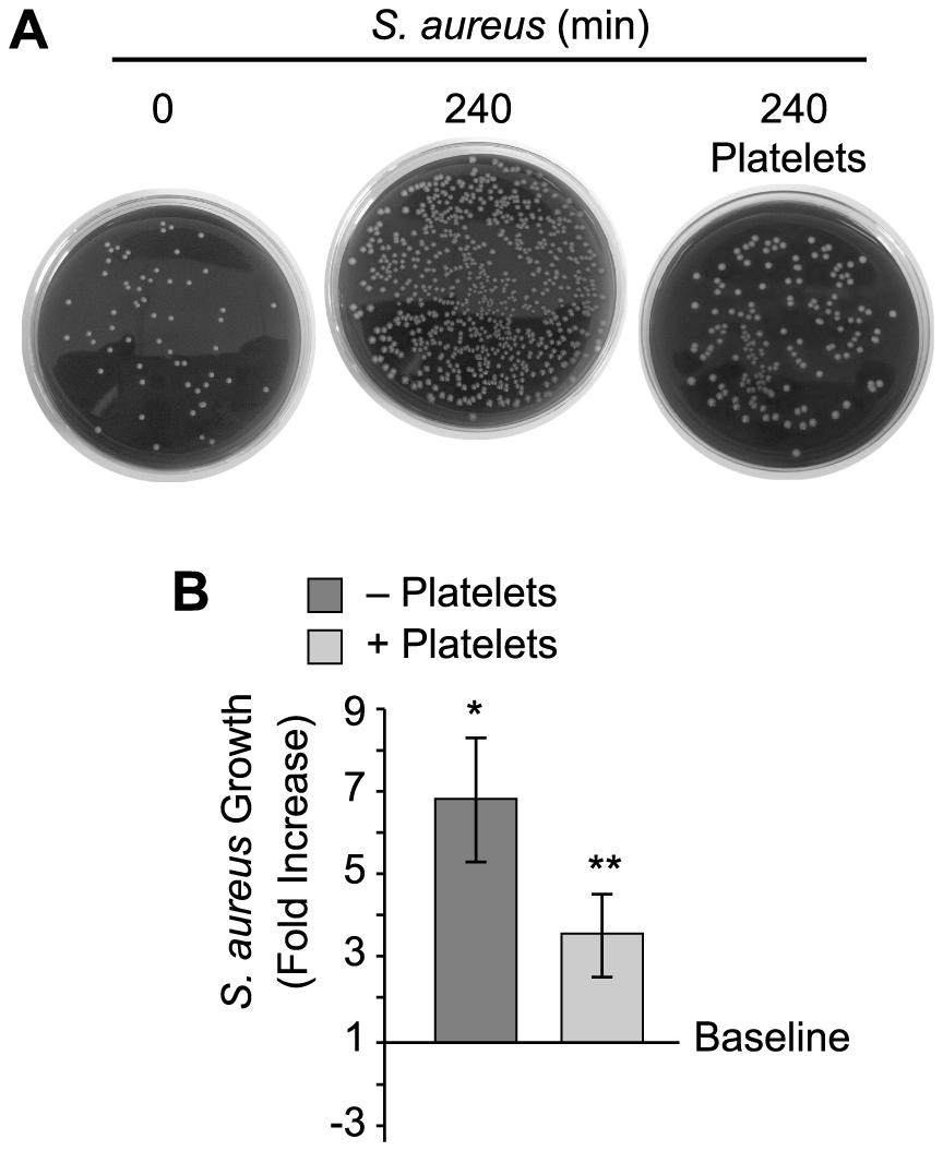 Platelets impede the growth of <i>S. aureus</i>.