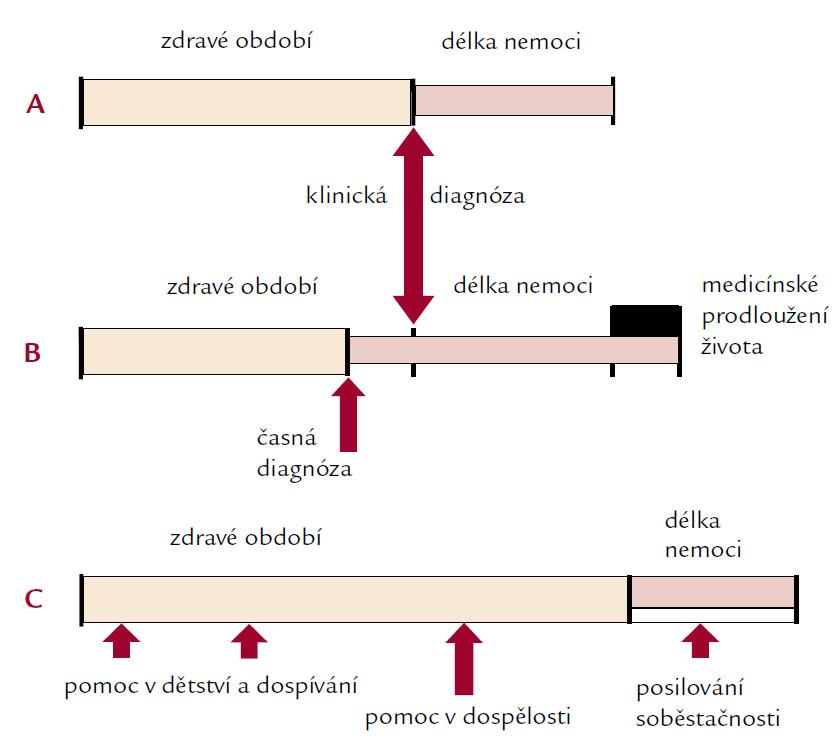 Tři modely průběhu života v návaznosti na chronickou nemoc.