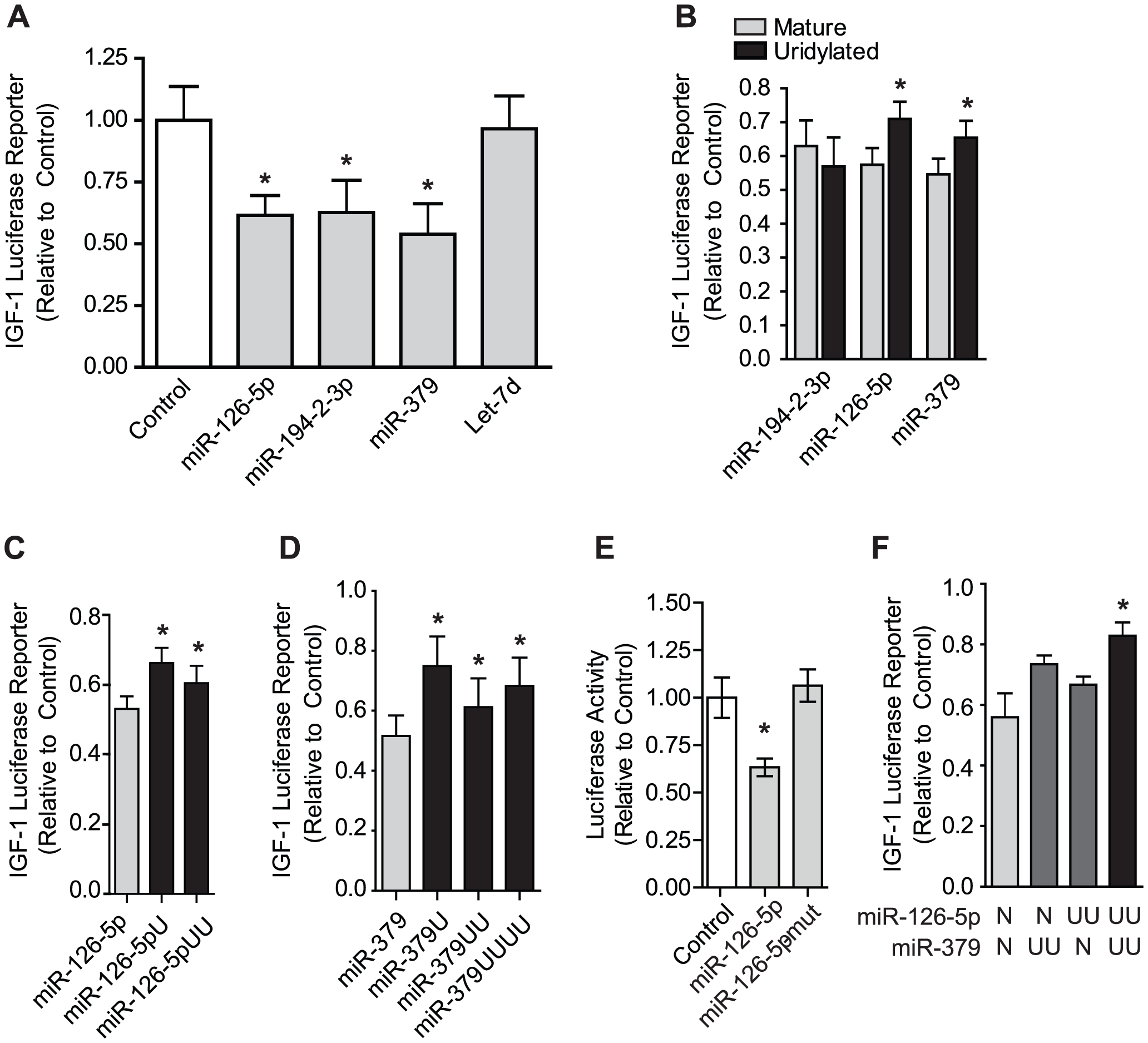 Uridylation of select miRNAs relieves silencing of the IGF-1 3′ UTR.