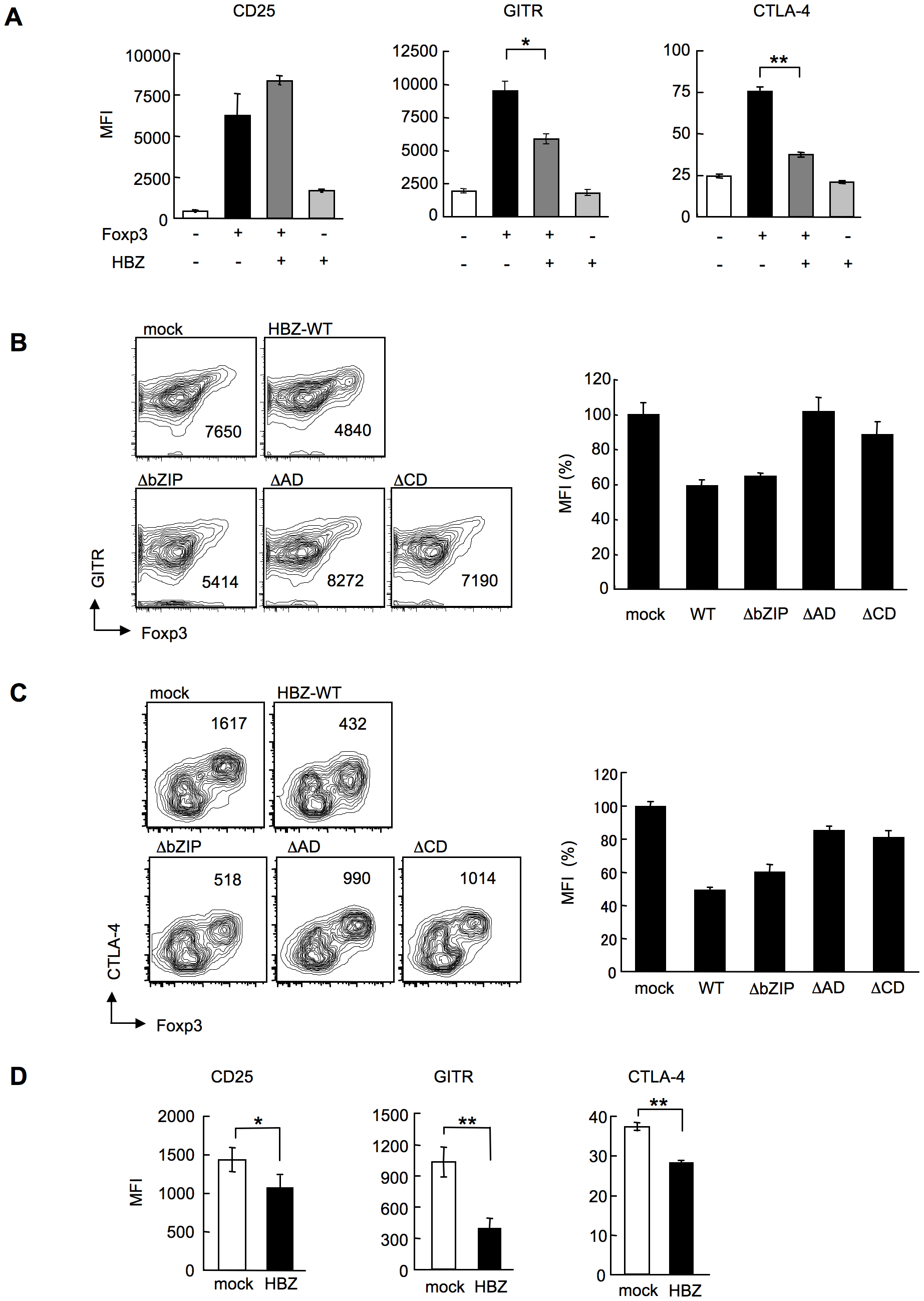 HBZ inhibites Foxp3-mediated CTLA-4 and GITR expression <i>in vitro</i>.