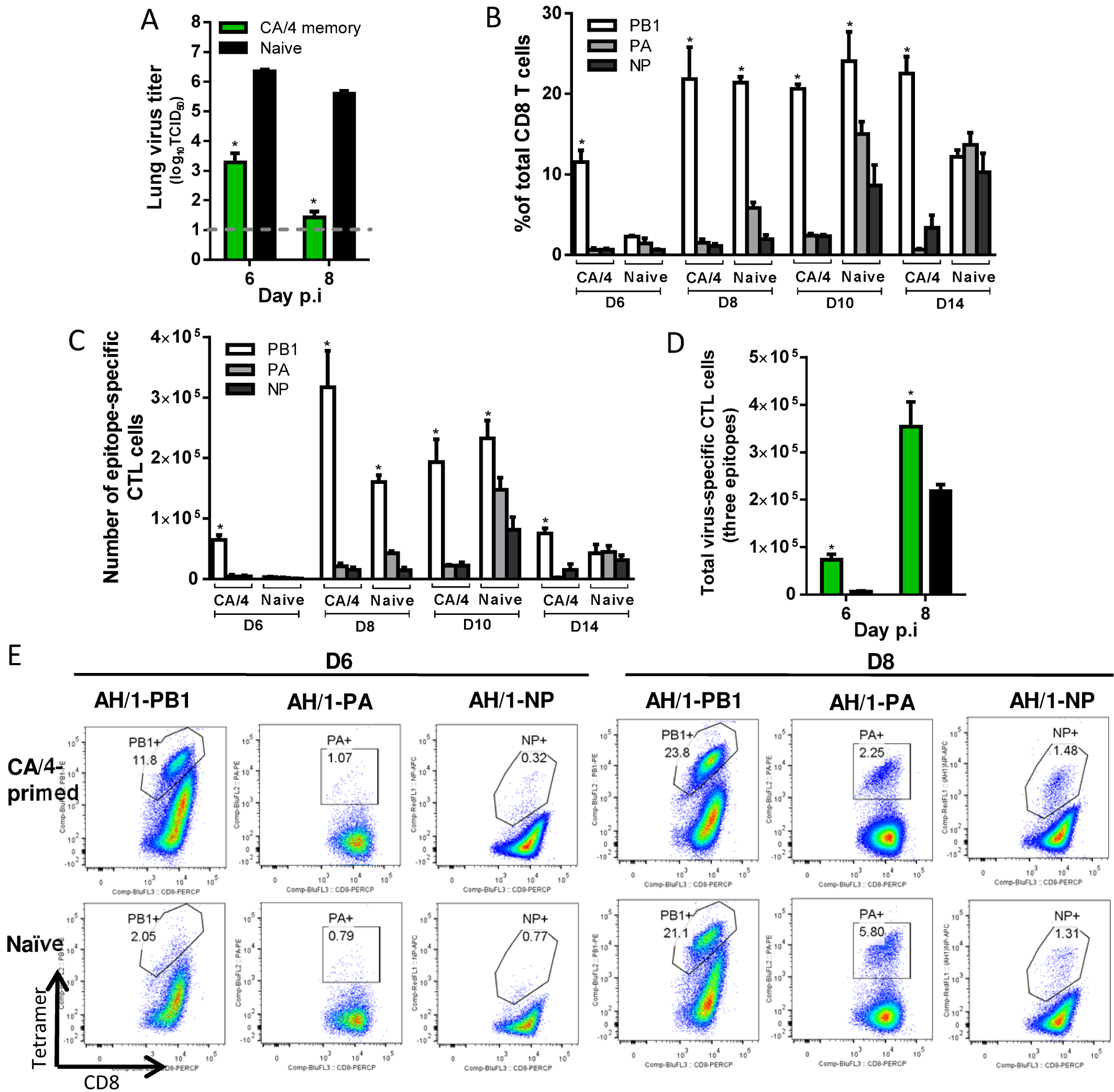 Comparing the primary and secondary CTL responses in naïve and CA/4(H1N1)-primed mice challenged with the H7N9 virus.