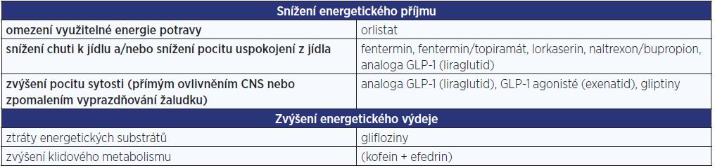 Možnosti medikamentózního dosažení negativní energetické bilance