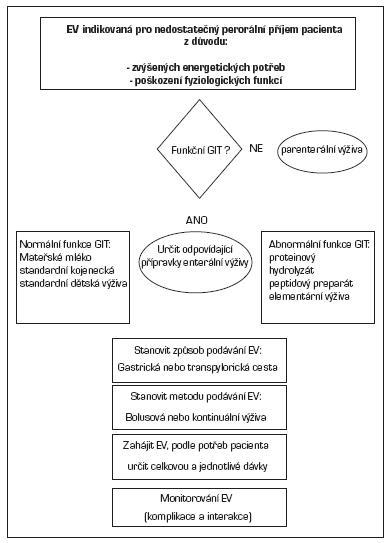 Schéma 1. Rozhodovací strom enterální výživy. EV – enterální výživa