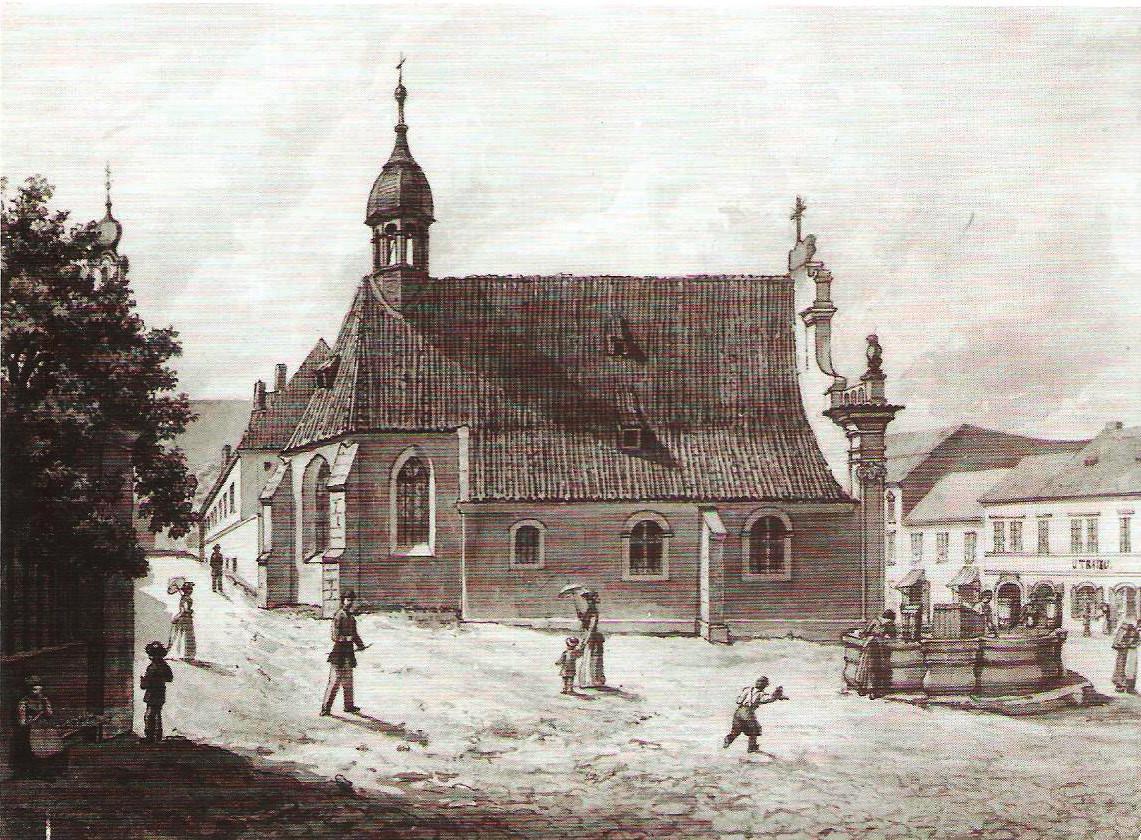 Kostel u Chudobince sv. Bartoloměje, kresba tuší, autor Eduard Herold, ze sbírky Muzea hl. m. Prahy