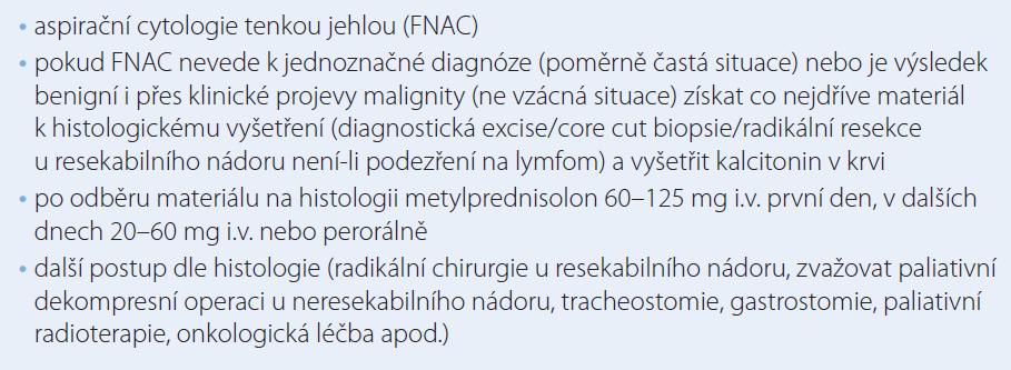 Zásady diagnosticko-léčebného postupu u rychle rostoucí strumy.