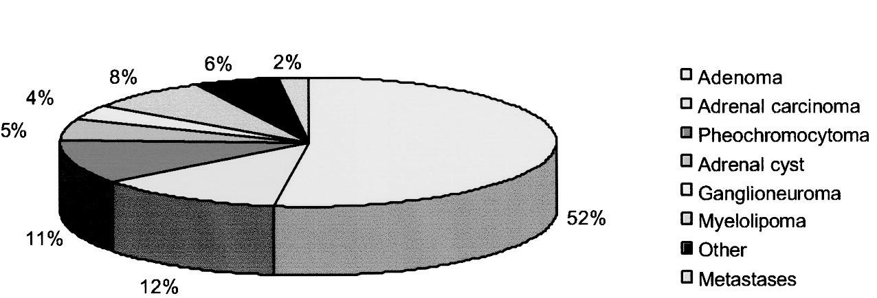Výskyt feo u pacientů s náhodně zachyceným zvětšením nadledvin (Mansmann G, et al. Endocrine Reviews 2004; 309–340)
