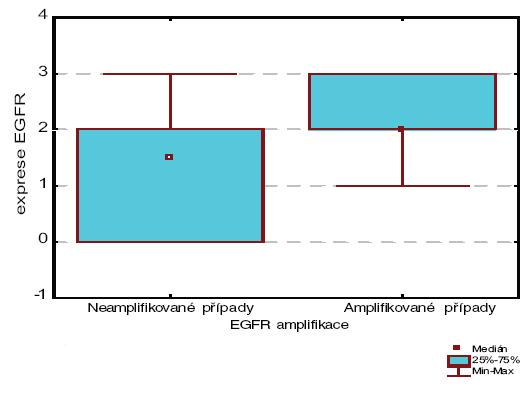 Korelace mezi amplifikací genu pro EGFR a expresí receptoru.