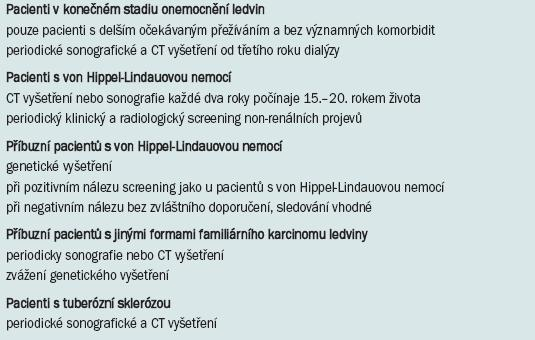Screening karcinomu ledviny – cílové skupiny [3].