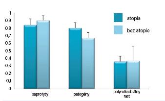 Graf 2B  Vplyv atopie na mikrobiálnu kolonizáciu horných dýchacích ciest.