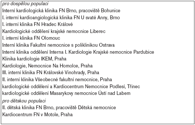 Příloha. Seznam center v ČR, provádějících katetrizační ablace arytmií (2005). Prvních 13 center slouží pro dospělou populaci, poslední 2 centra se specializují na dětské pacienty.