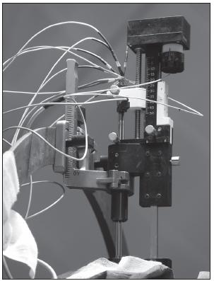 Obr. 7. Mikroposunovač (microdriver) s testovacími elektrodami.