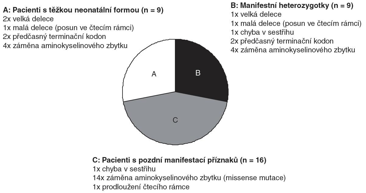 Typy mutací, které byly identifikovány v souboru 34 pacientů s deficitem OTC.