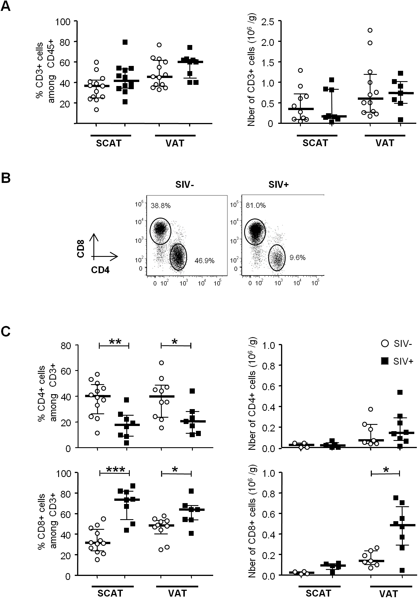 The influence of SIV infection on adipose-resident T cell subsets.