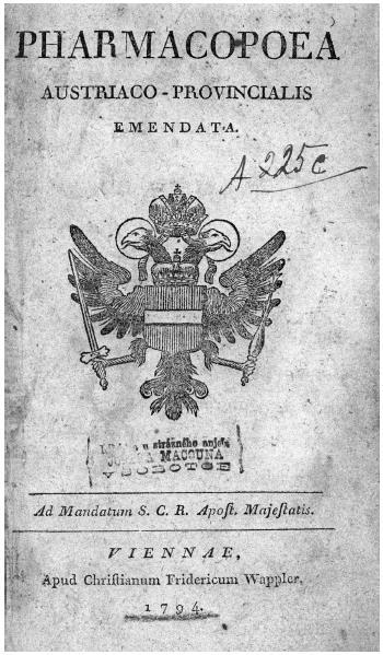 Titulní stránka vydání lékopisu z roku 1794