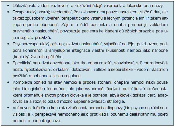 Aplikace narativity v klinické praxi (upraveno a doplněno dle 31, 47, 48)