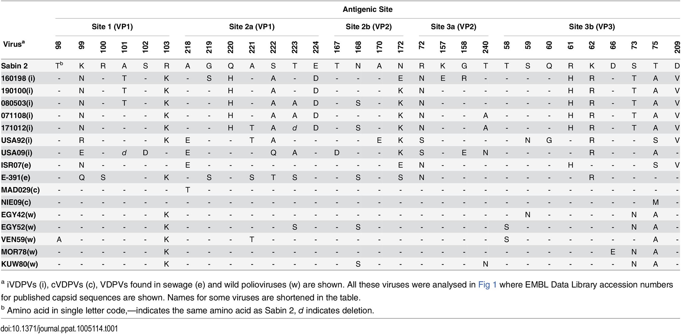 Amino acid differences in antigenic sites between type 2 polioviruses.