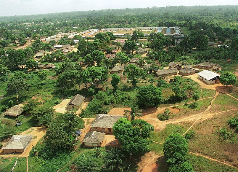 Letecký záběr krajiny v Libérii