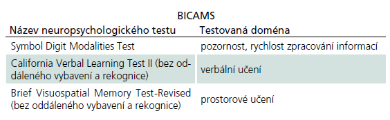 Testová baterie Brief International Cognitive Assessment for Multiple Sclerosis (BICAMS).