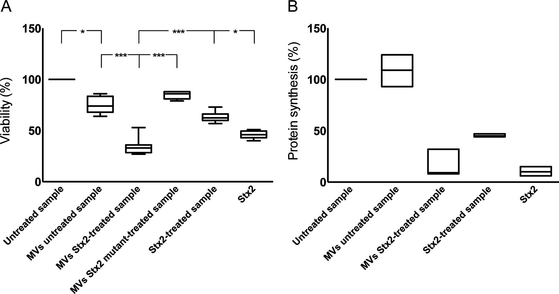 Microvesicles containing Stx2 affected the viability and inhibited protein synthesis in CiGEnC.