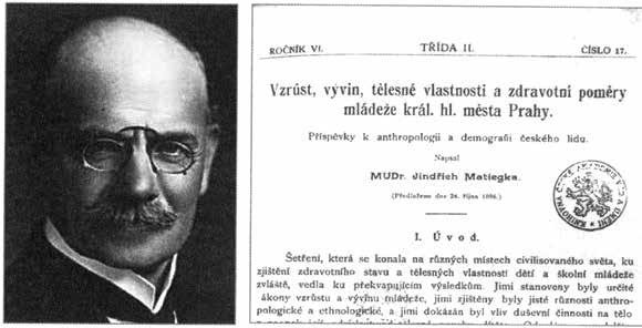 MUDr. Jindřich Matiegka a jeho habilitačný spis venovaný antropometrii a demografii pražských detí pred 130 rokmi.