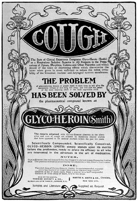 Reklama na antitusikum s heroinem. Zdroj: Wikimedia Commons (CC BY 4.0)