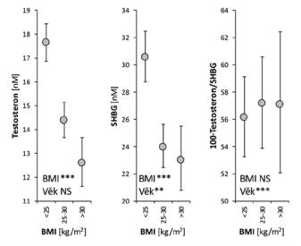 Závislost hladin testosteronu, SHBG a hodnoty indexu volných androgenů (100 × testosteron/SHBG) na hodnotě indexu tělesné hmotnosti B