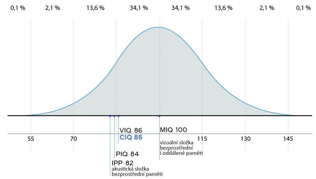 Znázornění výsledků vyšetření poznávacích funkcí pomocí Gaussovy křivky