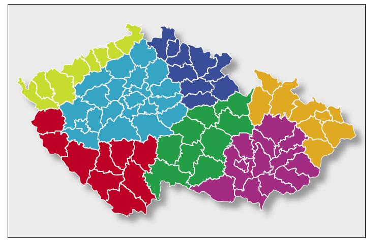 Rozdělení území České republiky pro účely biometeorologické předpovědi ČHMÚ.