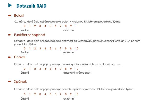 Dotazník RAID (Rheumatoid Arthritis Impact of the Disease)<br> (Gossec L, et al. Ann Rheum Dis 2009; 68(11): 1680–1685 a Gossec L, et al. Ann Rheum Dis 2011; 70(6): 935–342)