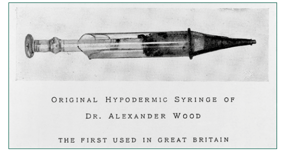 Originální Woodova injekční stříkačka. Zdroj: Wikimedia Commons (CC BY 4.0)