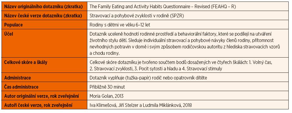 Charakteristika dotazníku Stravovací a pohybové zvyklosti v rodině.