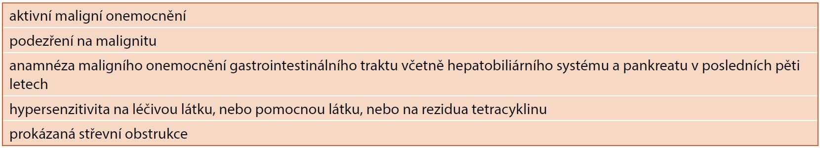 Kontraindikace terapie teduglutidem.