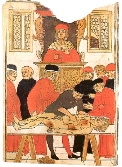 Mondino de Luzzi vyučuje anatomii