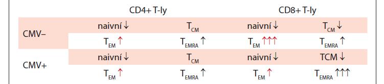 Změny v zastoupení T-ly subpopulací a exprese PD-1 u CLL v závislosti na CMV séropozitivitě.